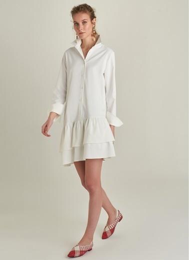 Ng Style Volanlı Poplin Elbise Beyaz